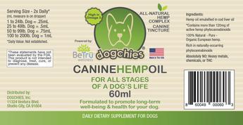 Be Tru Wellness Dogchies Hemp Oil 60 ML